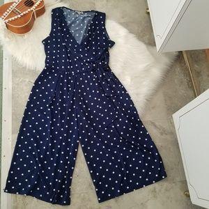 Shelby & Palmer Navy Blue Polka Dot Jumpsuit 1X